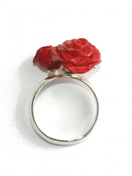Ring dubbele roos - Natuurlijk Zilver